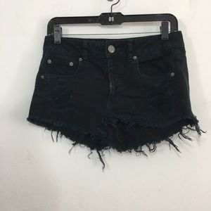 American Eagle stretch distressed blk jean shorts